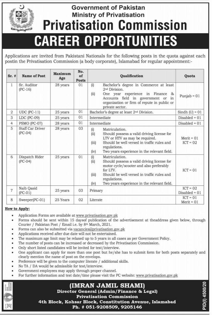 Download Privatisation Commission Pakistan Govt Jobs 2021 official advertisement