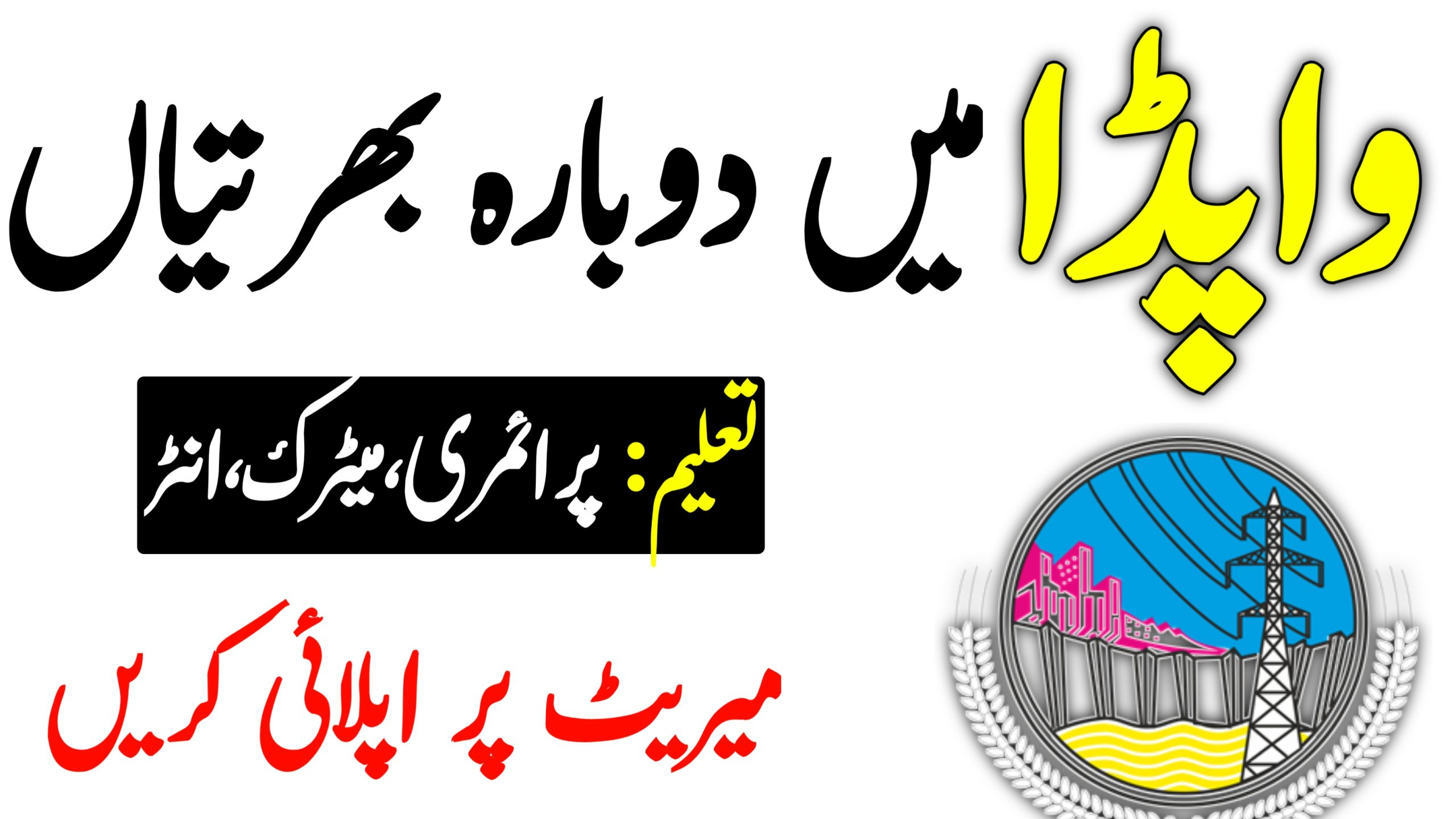 WAPDA job 2021   Ministry of Water Resources Islamabad Jobs 2021