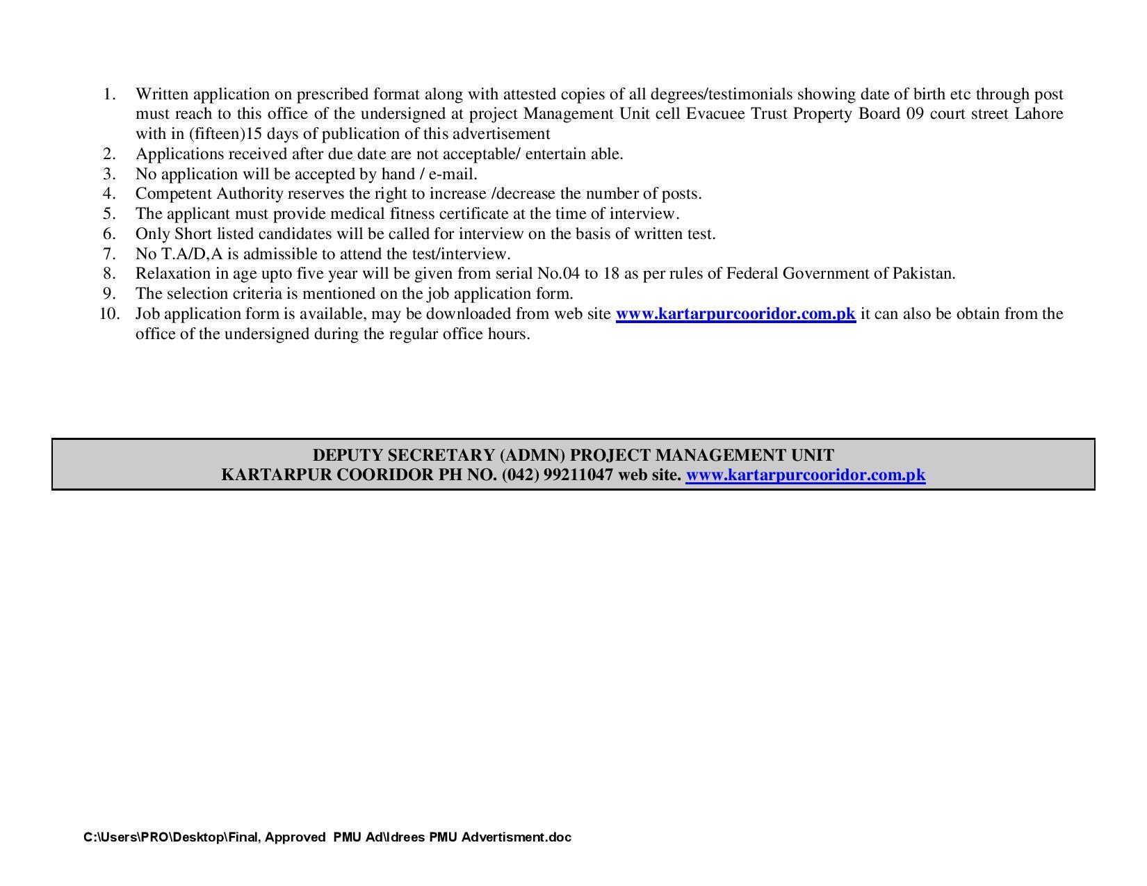 kartarpur corridor jobs 2021|Govt Of Pakistan Jobs 2021