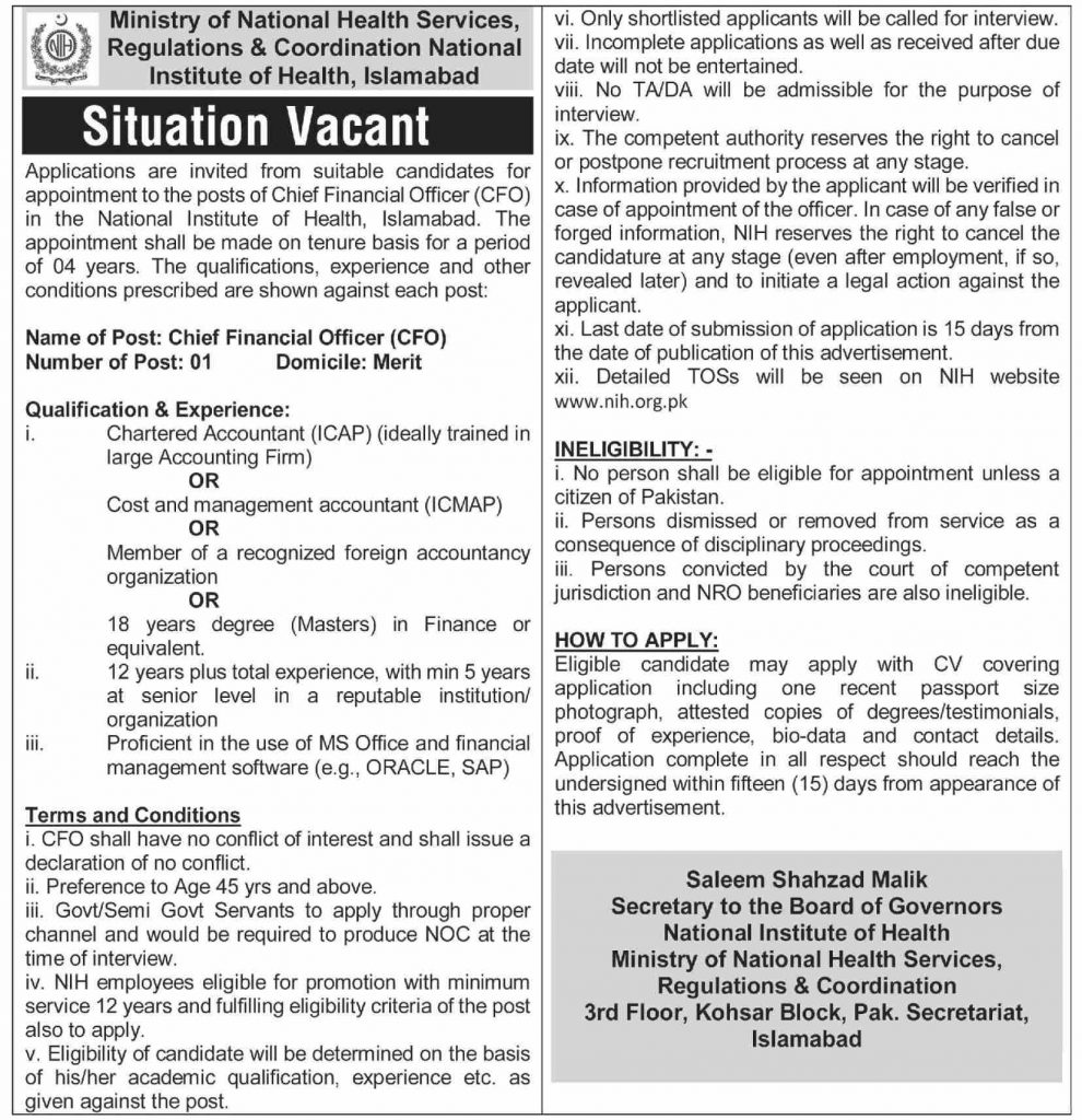 Download Ministry of National Health Services Jobs 2021 Advertisement