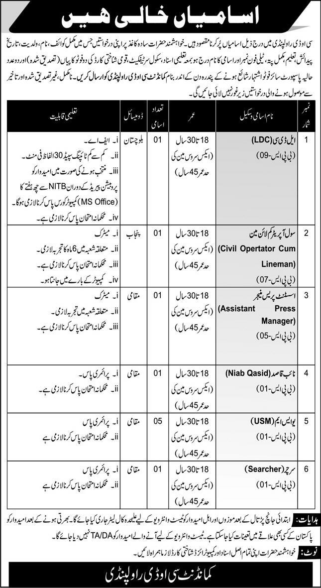 Pak army jobs 2021
