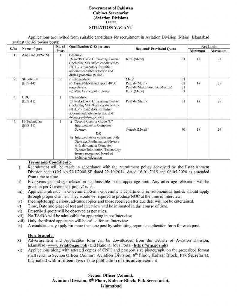 Latest Cabinet Secretariat Islamabad Jobs 2021
