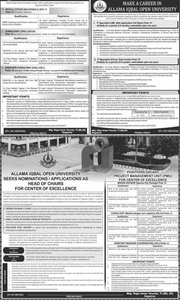Download AIOU Jobs 2021 Advertisement