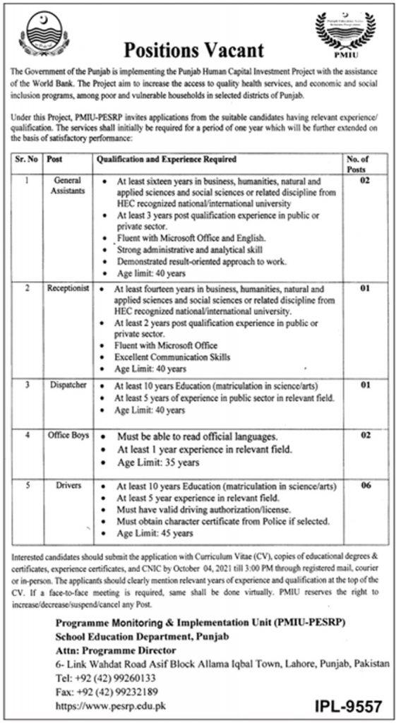 Govt Jobs In Punjab 2021 Punjab School Education Department Jobs 2021